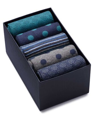 Blue and grey sock gift box