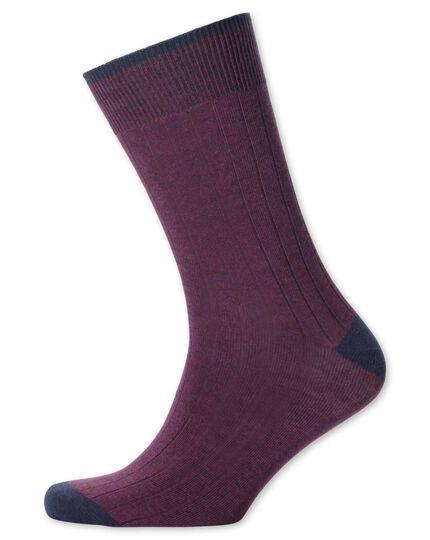 Rippstrick-Socken in BeerenRot
