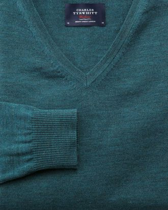 Merino Pullover mit V-Ausschnitt in Blaugrün