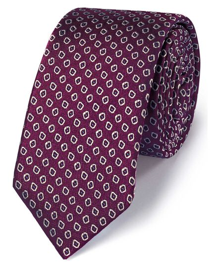 Dark purple silk slim diamond neat classic tie