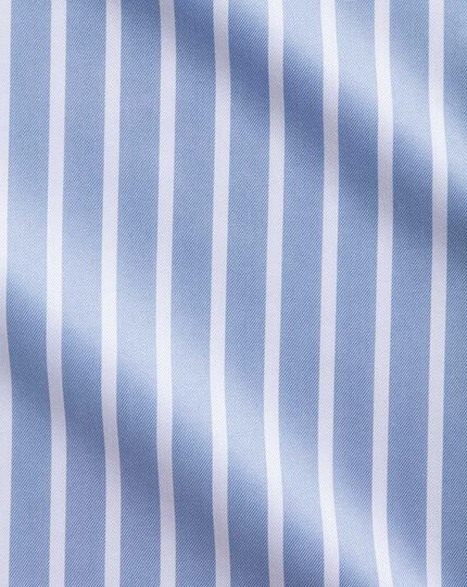 Extra slim fit spread collar non-iron Bengal wide stripe sky blue and white shirt
