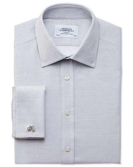 Classic fit Egyptian cotton diamond texture light grey shirt