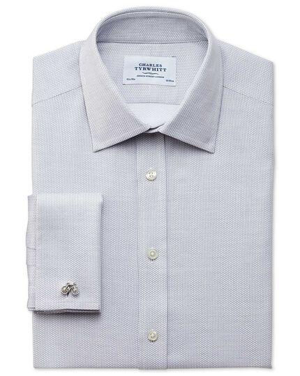 Slim Fit Hemd aus ägyptischer Baumwolle in Hellgrau mit Diamant-Struktur