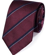 Burgundy and navy silk textured stripe classic tie