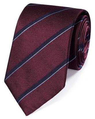 Burgundy and navy silk textured stripe classic tie