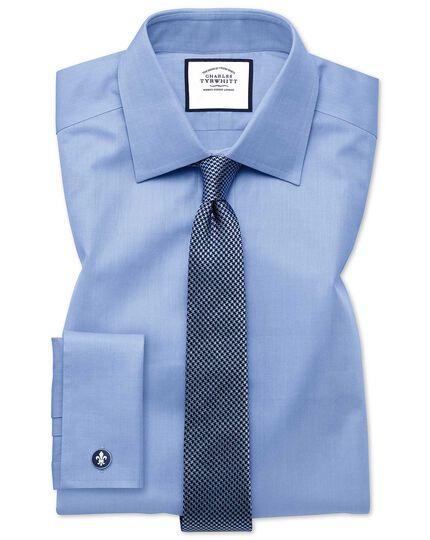 Extra slim fit fine herringbone sky shirt
