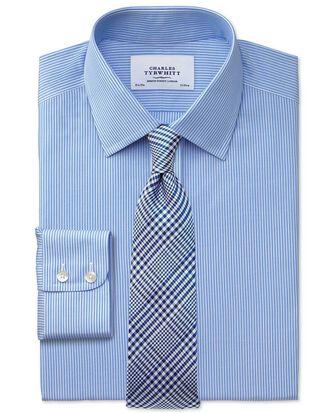 Slim fit non-iron fine stripe blue and white shirt
