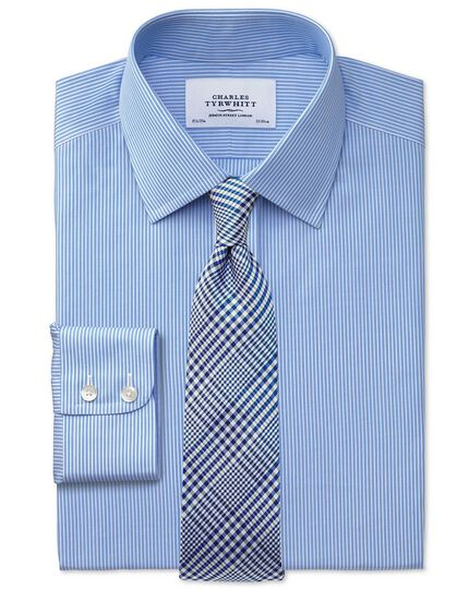 Slim fit non-iron fine stripe blue and white shirt