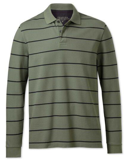 Green and navy stripe pique long sleeve polo