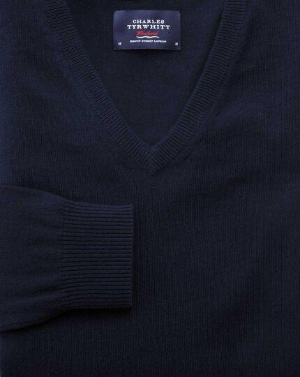 Navy cotton cashmere v-neck jumper