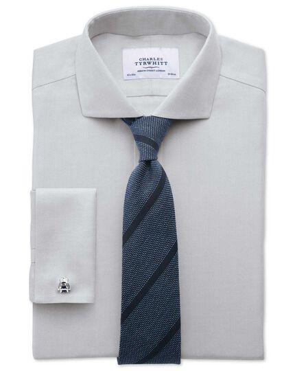 Slim fit spread collar non-iron herringbone grey shirt