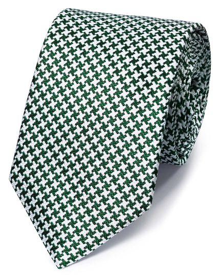 Green and white silk end-on-end puppytooth classic tie