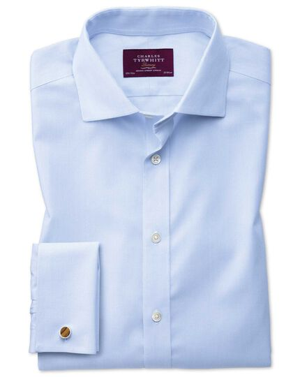 Slim fit semi-cutaway non-iron luxury hairline stripe sky blue shirt