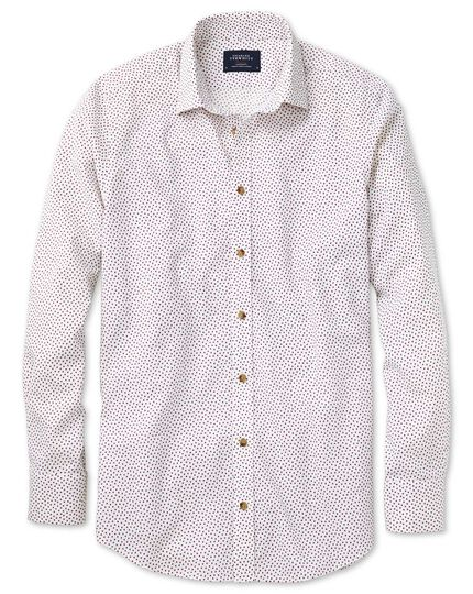 Classic fit white and pink square print shirt