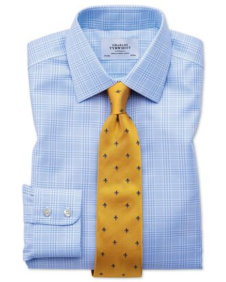 Slim fit non-iron Prince of Wales sky blue shirt