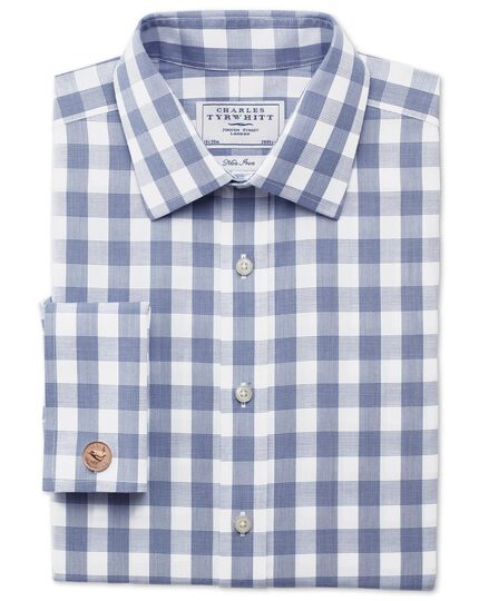 Classic fit non-iron large gingham navy shirt