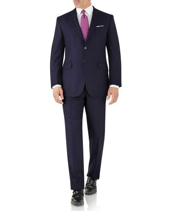 Navy stripe classic fit flannel business suit
