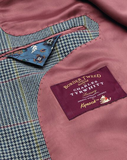 Slim Fit luxuriöses Border-Tweed-Sakko in Blau mit Prince-of-Wales Karos