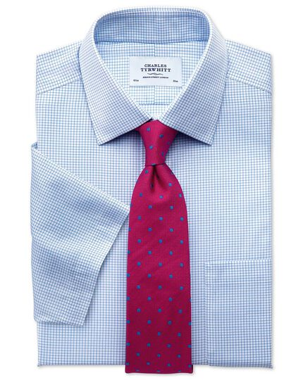 Slim fit non-iron grid check sky blue short sleeve shirt