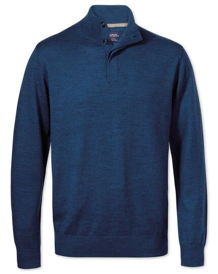 Pull bleu moyen en laine mérinos à col boutonné