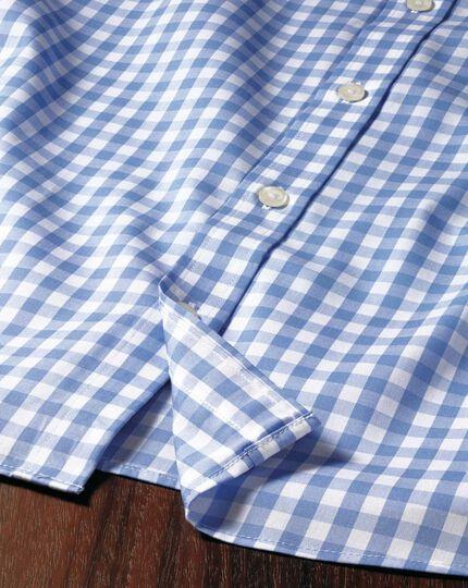 Classic fit button-down non-iron poplin short sleeve sky blue gingham shirt