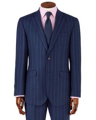 Veste de costume business bleu roi en flanelle slim fit à rayures larges