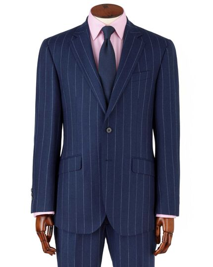 Royal blue wide stripe slim fit flannel business suit jacket