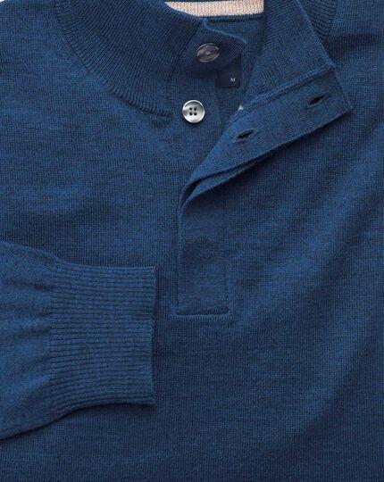 Mid blue merino wool button neck sweater
