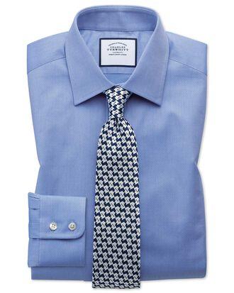 Chemise bleue en coton égyptien coupe droite à tissage effet treillis