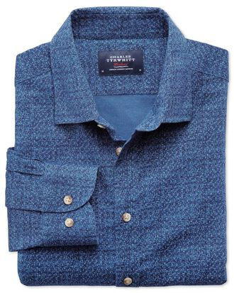 Chemise bleue imprimée slim fit