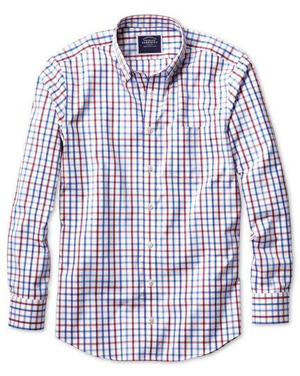 Slim fit button-down non-iron poplin red multi check shirt