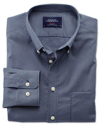 Slim fit non-iron poplin blue and grey check shirt