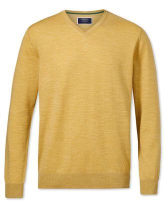 Pull jaune en laine mérinos à col V