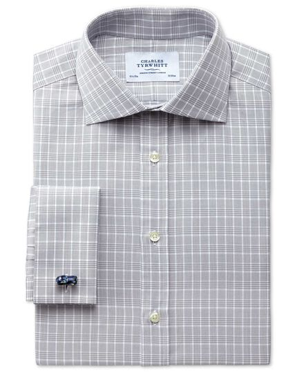 Extra slim fit Prince of Wales silver shirt