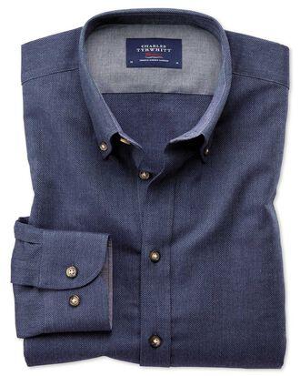 Slim Fit weiches Baumwoll-Hemd in Blau