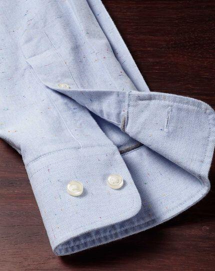 Classic Fit modernes Oxfordhemd in Himmelblau mit Sprenkelmuster