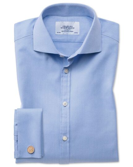 Extra slim fit cutaway Egyptian cotton cavalry twill blue shirt