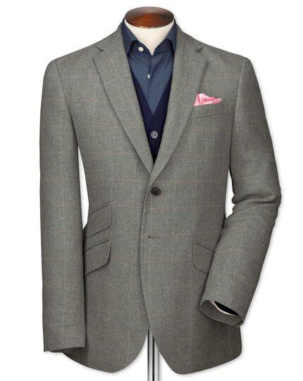 Slim Fit Luxus-Tweedsakko in Grau mit Karos