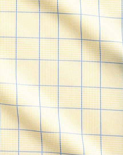 Bügelfreies Slim Fit Hemd in Gelb und Königsblau mit Prince-of-Wales-Karos