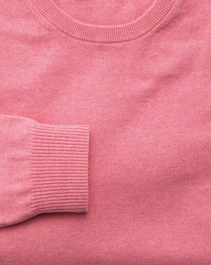 Pink cotton cashmere crew neck sweater