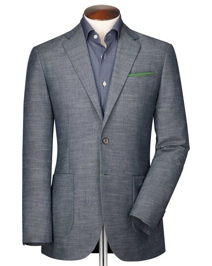 Slim fit chambray semi-plain jacket