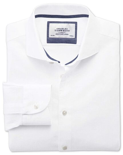 Extra slim fit cutaway collar business casual linen cotton white shirt