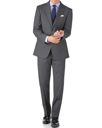 Mid grey classic fit twill business suit