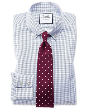 Classic fit button-down non-iron twill mini grid check navy blue shirt