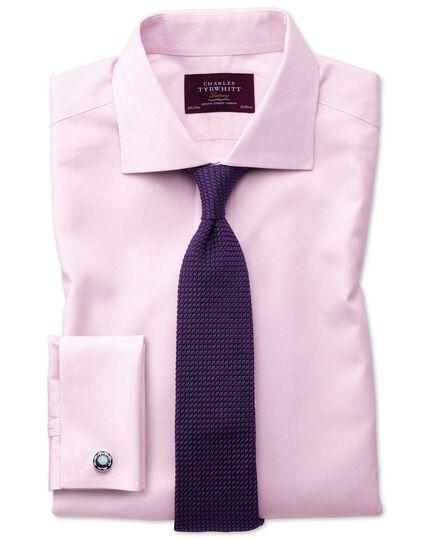 Slim fit semi-cutaway non-iron luxury hairline stripe pink shirt