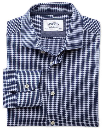 Classic fit semi-cutaway collar business casual oval dobby navy blue and white shirt