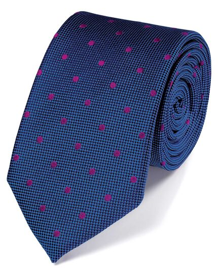 Royal and pink silk spot classic tie