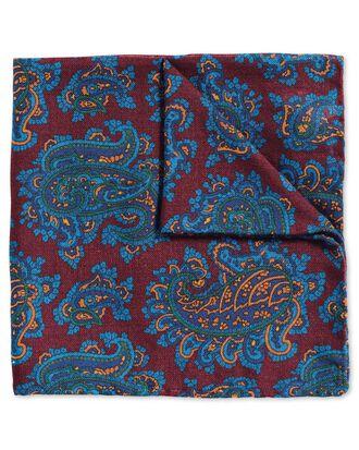 Pochette de costume de luxe bordeaux et bleue en tissu anglais à motif cachemire