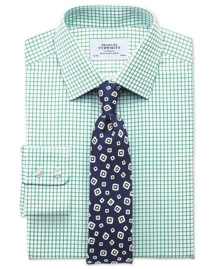 Classic fit twill grid check green shirt
