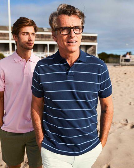 Blue and sky stripe pique polo